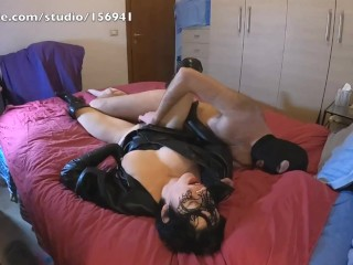 Submissive slut roughly fucked in leather dress, boots and gloves