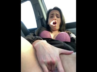 Creamy Public Car Masturbation Almost Caught