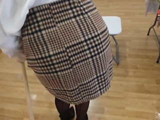 New secretary interview for job. We need sexy girl. She is very hot. Stocking and miniskirt uniform