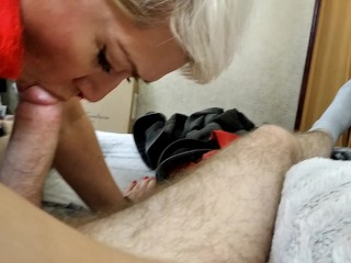 My naughty MILF bitch gives a masterclass in blowjob ... Envy, guys! Learn, girls! ))