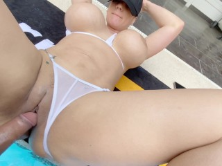 Big Boobs Latina gets her Meaty Pussy Deep Fucked by the Pool