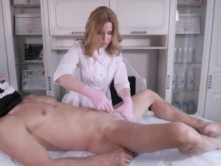 Deep bikini waxing for a man with a gorgeous penis