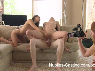 Nubiles Casting - An unexpected threesome for porn tryout