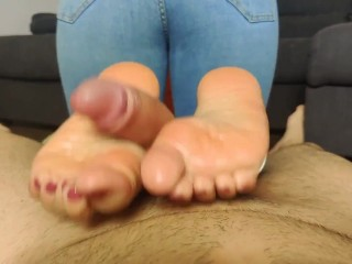cuckold oiled footjob with my handcuffed neighbor to a gas canister cum on feet