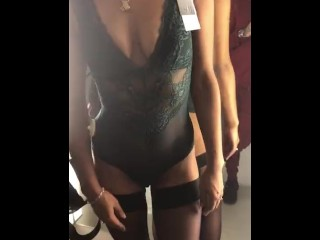 Dutch Girl stacey shows herself in a dressingroom