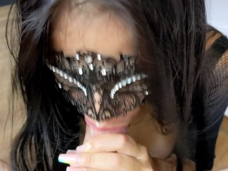 Hot Venezolana Girlfriend Sloppy Blowjob and Swallowing a Huge Load after an Oiled Tit Fuck