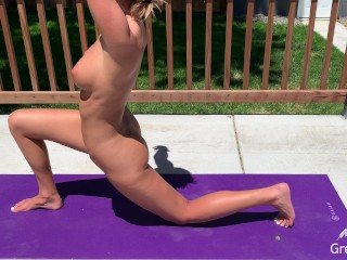 Backyard Nude Yoga with Butt Plug - Will I Be Caught?