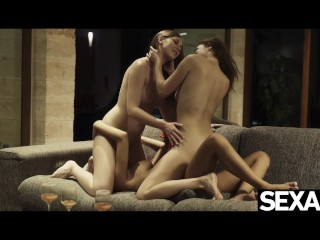 Watch these three gorgeous girls have a sexy lesbian threesome