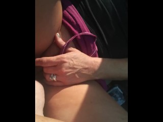 Edging myself before the nude beach I like to be wet and open with my clit swollen and exposed