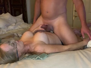 Pegging by wife. Cum on tits and lick it off.