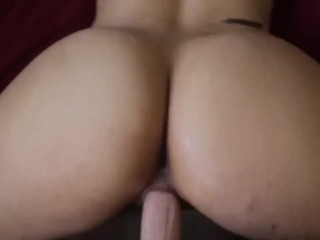 Big ass redhead in sexy panties gets in fours to get fucked doggy style