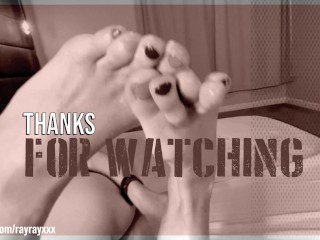 Alternative Chick Licks her feet before giving a vicious Foot Job with colorful toenails