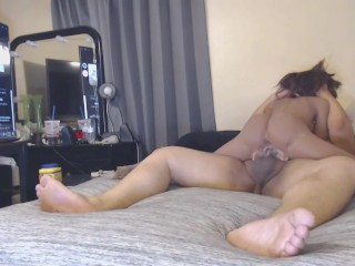 Watching porn as Sex doll rides my dick cumming inside creamy pussy