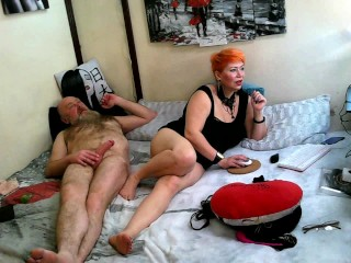The lascivious red-haired mature bitch cheerfully sucks a cock in close-up & fucking hard! Hot mom!