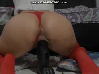 Big cocks make my pussy drip and cream on the floor. Watch my ride my huge dildo