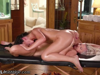AllGirlMassage Dirty Masseuse Gives Extra Special Care To Her Client's Oiled Pussy