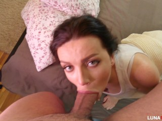 Waking up, she found a cock in her mouth. Powerful Facial!