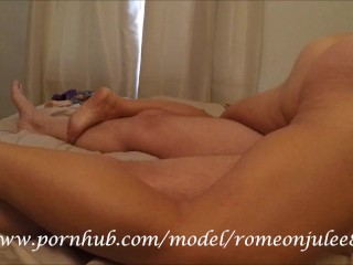 Shared wife grinds out orgasm on friend while husband films