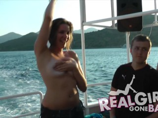 SEXY GIRLS WITH BIG TITS GET NAKED ON A HOT BOAT PARTY