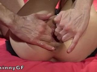 I start to gape her shaved pussy, she finish to prolapse it! My Skinny girlfriend love it