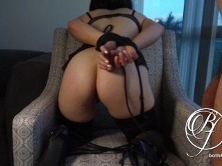 Gorgeous babe gets taught a lesson, BDSM, high heels, stockings, struggling fetish