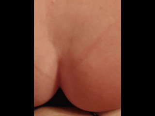 Femdom pawg wife pegging her man and teaching him how to ride cock in preparation for the real thing