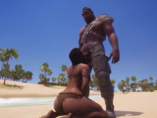 Big Black babe POV blowjob in wild