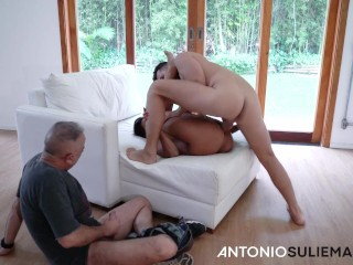 Old cucold son of a bitch gives his old woman to antonio