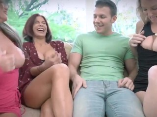 blowjob badmilfs - horny milf shares huge cock with friends stuck