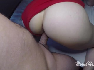 FUCK MY STEP-SIS IN HER RED HOT PANTS THEN CUM IN HER ASS