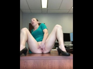 Horny lawyer fingers herself at work