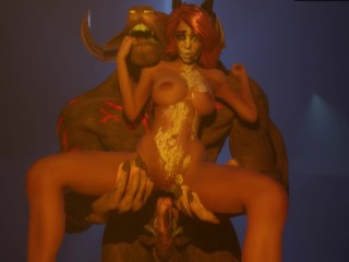 Perfect Big BOOBS Bitch Fucking with Big Cock Monster   3D Porn Wild Life