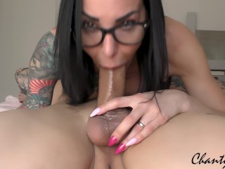 69 THROATPIE! MY CUM HUNGRY STEPMOM WITH GLASSES DRAINS MY BALLS!