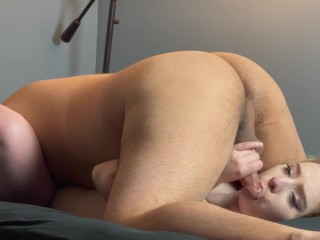 PAWG Babe Stays Home from Work to Swallow Cock Balls Deep on her Back (69 Deepthroat Throatpie)