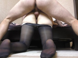 Girl give Fuck Big Ass in Pantyhose