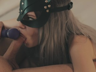 Massive MALE SQUIRT after vibrator edging play & blowjob. Uncut cock squirt