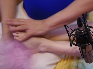 Compilation of a man ASMR massage of female feet in stockings and without