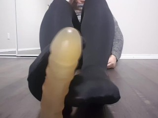 POV Shemale gives you a foot job and plays with your cum on her feet