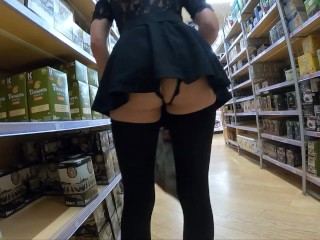 Teaser - Crotchless panties upskirt shopping, lots of pussy flashing!!