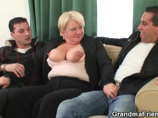 Old woman fucked by two big cocks