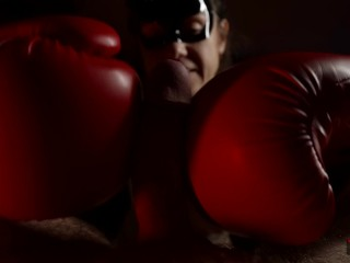 Art jerking off a big dick naked mistress hits a dick in boxing gloves