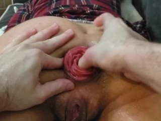 Bf punch fisting my hungry loose asshole with prolapse POV