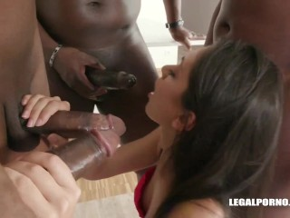 she sacrifices the narrowness of her holes for the happiness of a gang of men