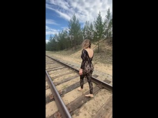 Public naked walk in the woods, pink cream pussy, cum flows out on clothes. Dangerous sex on the