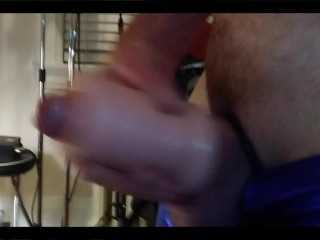 english canadian ginger cock wank & cumshot in shiny blue trunks w/c-ring & stroker 220521 1080HD