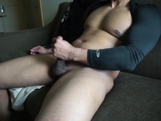 INTENSE DIRTY TALK, hot black guy masturbating on the couch