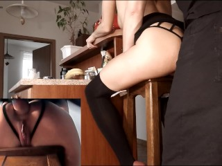 Amateur brunette babe anal - Ass fucked hard and anal toyed on a bar stool