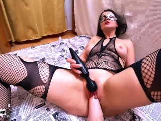 Hot Wife in Mesh Clothes Hard Fisting and Play Pussy Inflatable Toy