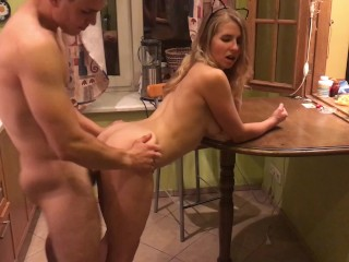 Hot sex in the kitchen with blonde girl
