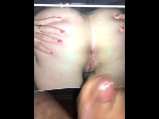 Cum Tribute to my wife, I deposited a huge cumshot on her pussy & ass then licked it up & swallowed